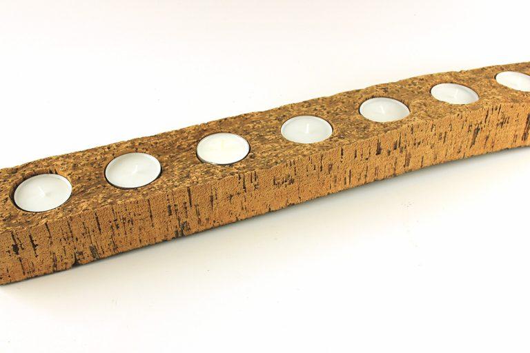 Castiçal decortiça, 10 x 73 cm, com 7 velas