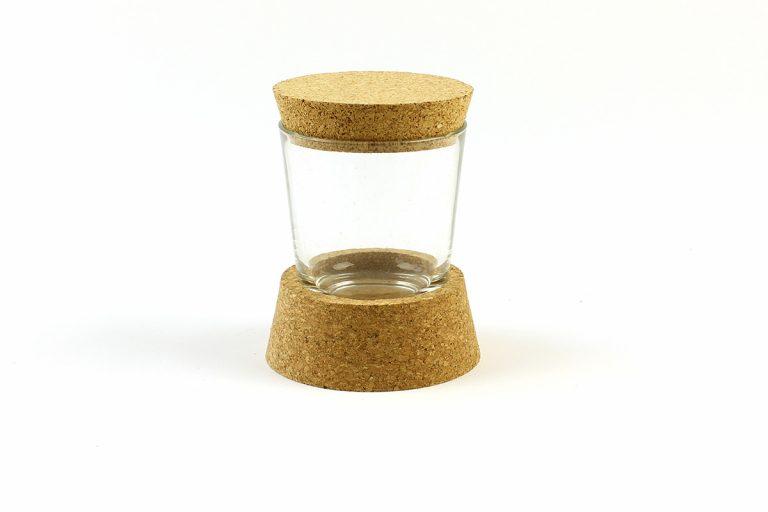 Boião de vidro, com base e tampo em cortiça