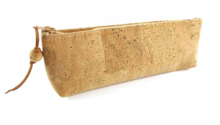 Bolsa para lápis, em tecido de cortiça natural
