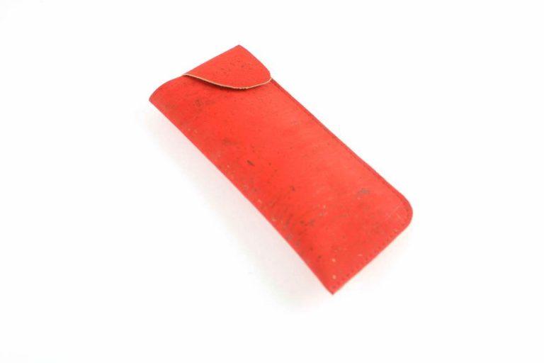 Bolsa para óculos, em tecido de cortiça, vermelho vivo