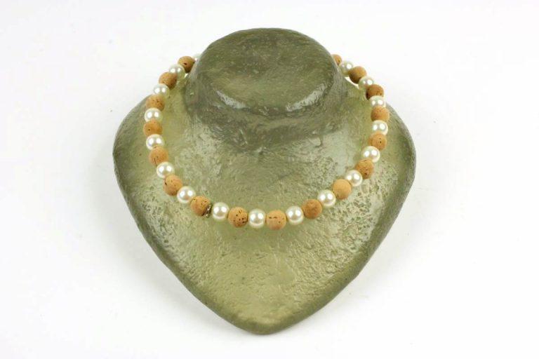 Colar bolas pequenas (12 mm) de cortiça e pedra turquesa