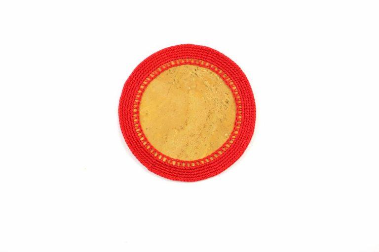 Marcador para pratos, com tecido de cortiça natural e linha vermelho vivo, com 15 cm de diâmetro